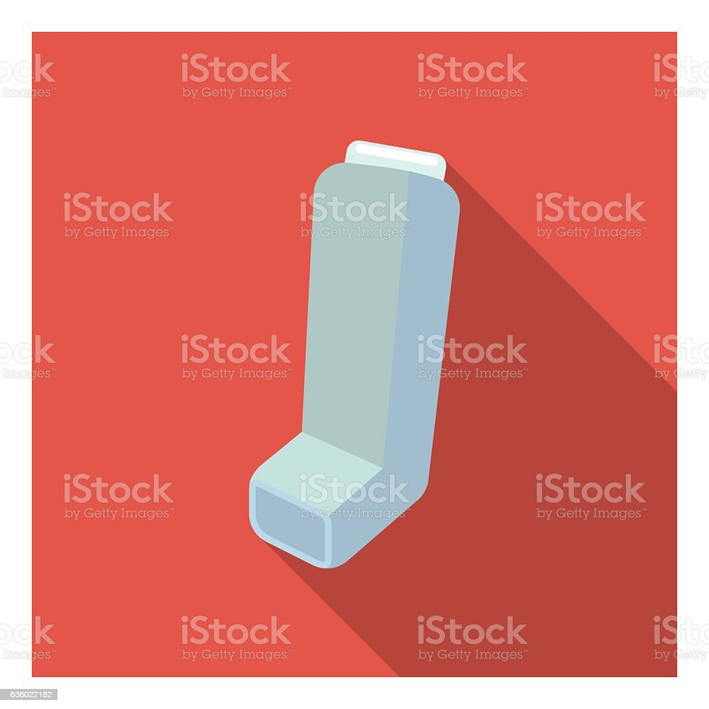 Inhaler icon in flat style isolated on white background. Medicine vector art illustration