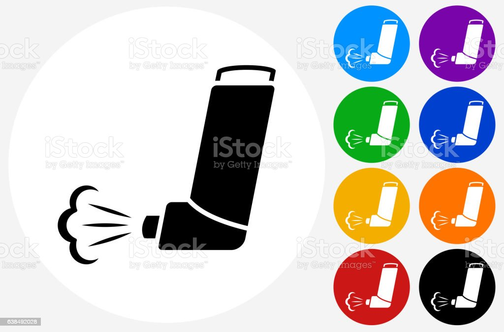 Inhaler Icon on Flat Color Circle Buttons vector art illustration