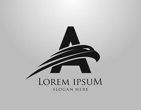 Initial A Letter Eagle Logo Icon with Creative Eagle Head Vector Illustration Design.