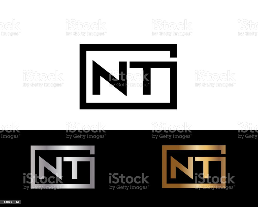 Nt Initial Box Shape Designs Template Stock Vector Art More Images