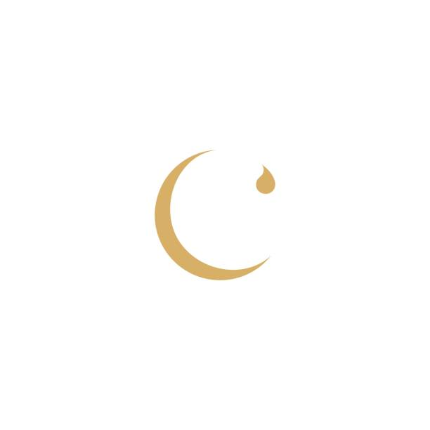 Initial C for Crescent Moon and Droplet image description letter c stock illustrations