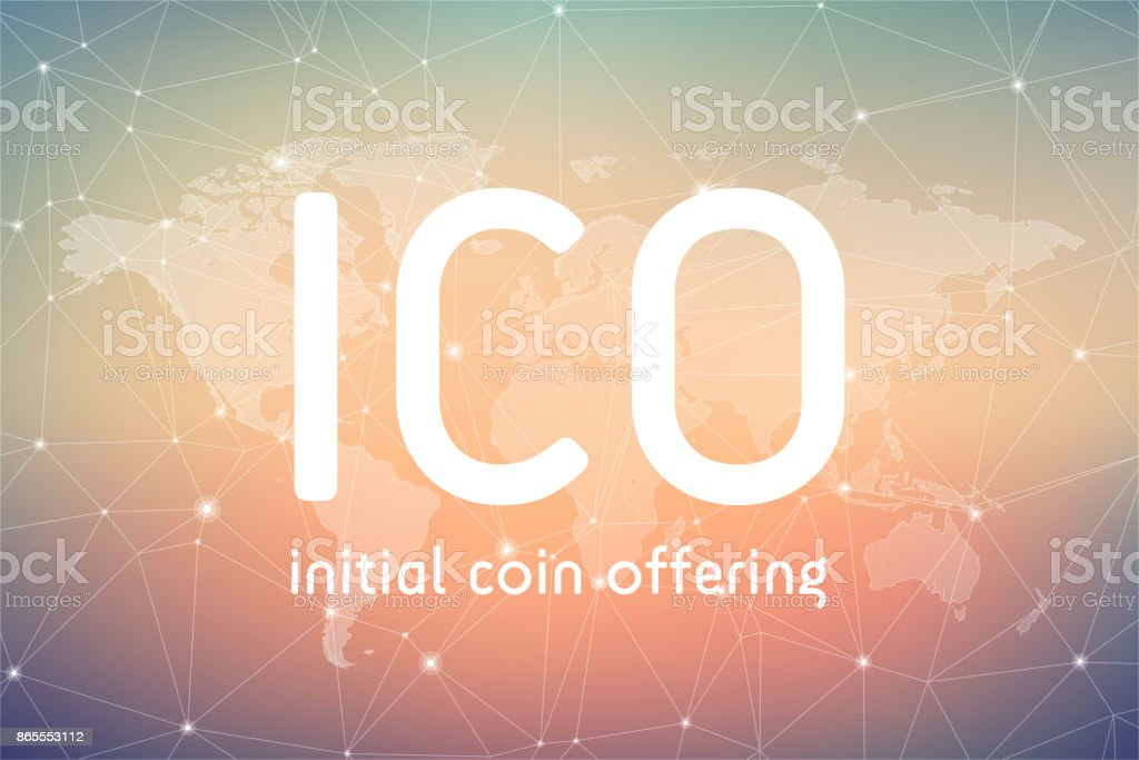 ICO initial coin offering banner vector art illustration