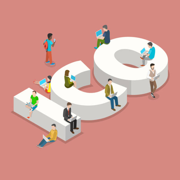Initial coin offering flat isometric vector concept. People with laptops are sitting and standing around big letters ICO. Initial coin offering flat isometric vector concept. People with laptops are sitting and standing around big letters ICO. initial coin offering stock illustrations