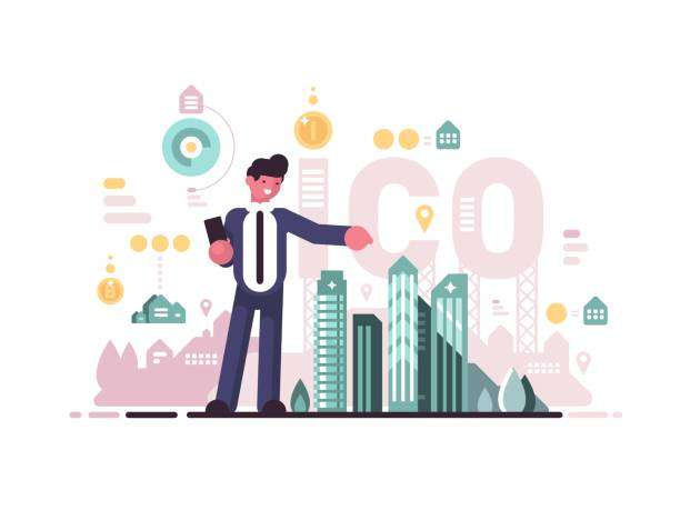 Initial coin offering Initial coin offering. Crypto-currency business, modern businessman. Vector flat illustration initial coin offering stock illustrations