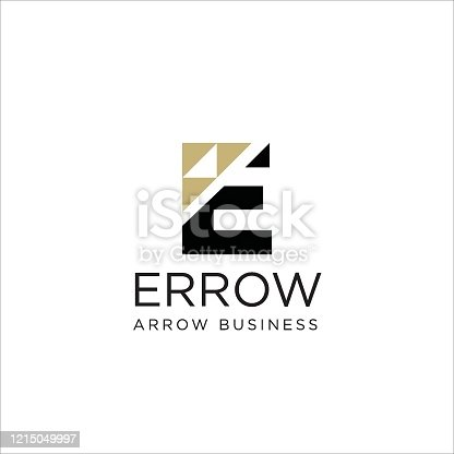 Initial E letter with Arrow icon inside vector   icon illustration