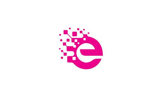 initial E vector icon technology