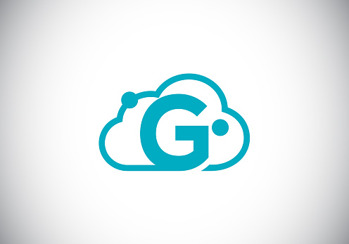 Initial G monogram letter alphabet with the cloud. Cloud computing provider service logo. Modern cloud technology vector logo design for business, and company identity.
