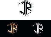 JR initial hexagon shape icon