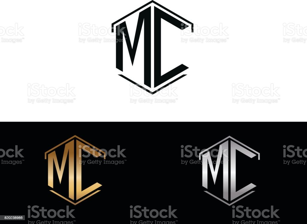 MC initial hexagon shape icon vector art illustration
