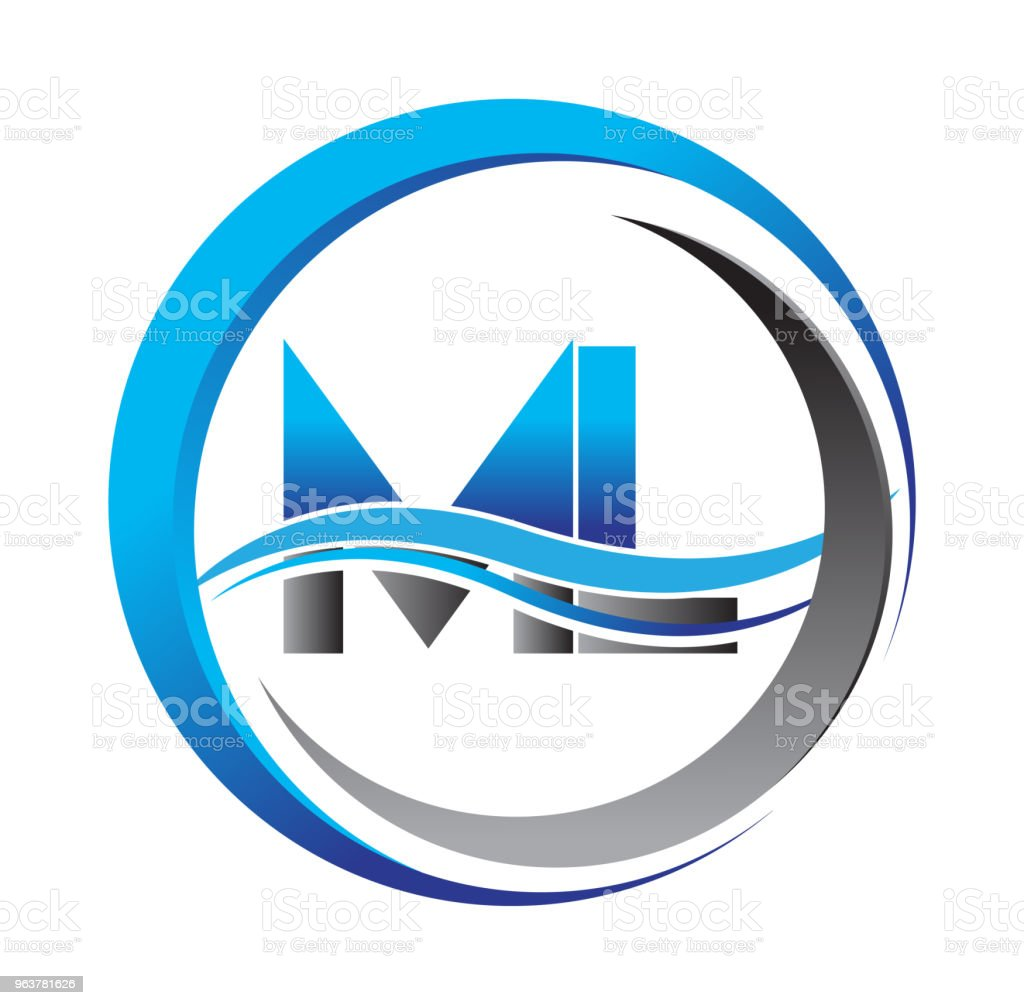 Initial Icontype Company Name Blue And Grey Color On Circle And ...