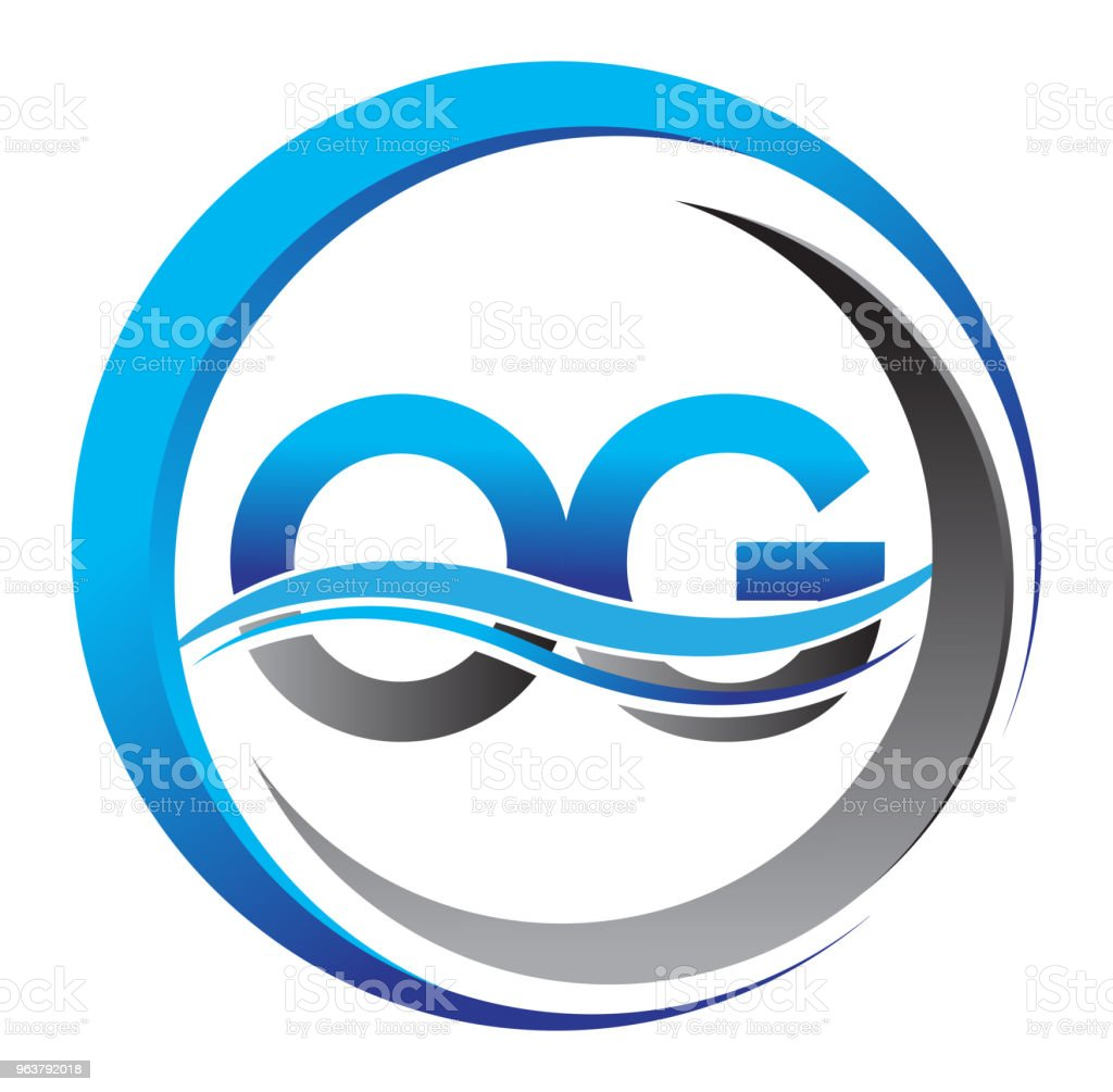 initial icontype company name blue and grey color on circle and swoosh design. vector art illustration