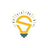S Initial Idea Bulb Logo concept vector, S initial logo