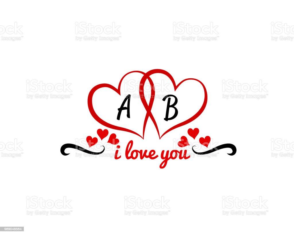 Ab Initial Inside Hearts Wedding Invitation Valentine Day Love Logo