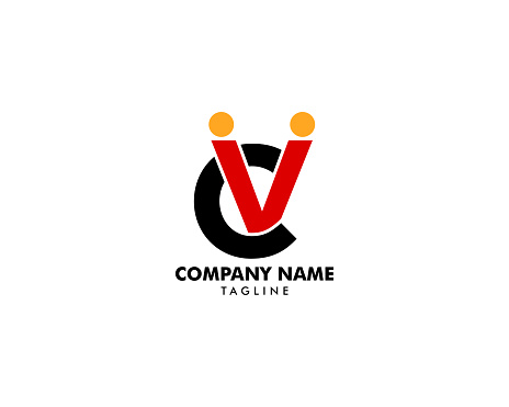 Initial Letter Cv Human Abstract Logo Vector Icon Stock Illustration - Download Image Now