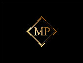 MP letter diamond shape golden logo