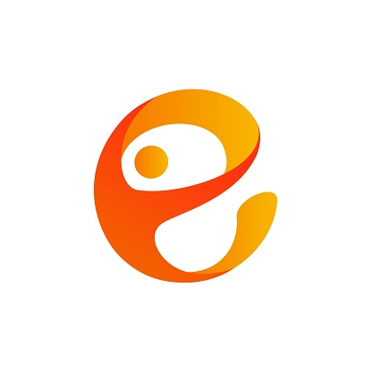 Initial letter E logo design with human shapes in yellow and orange color