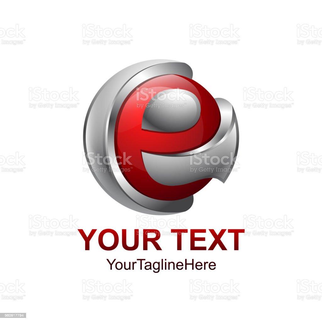 Anfangsbuchstaben E Logo Vorlage farbig grau roten Kreis Kugel Design für Unternehmens- und Identität - Lizenzfrei Abstrakt Vektorgrafik