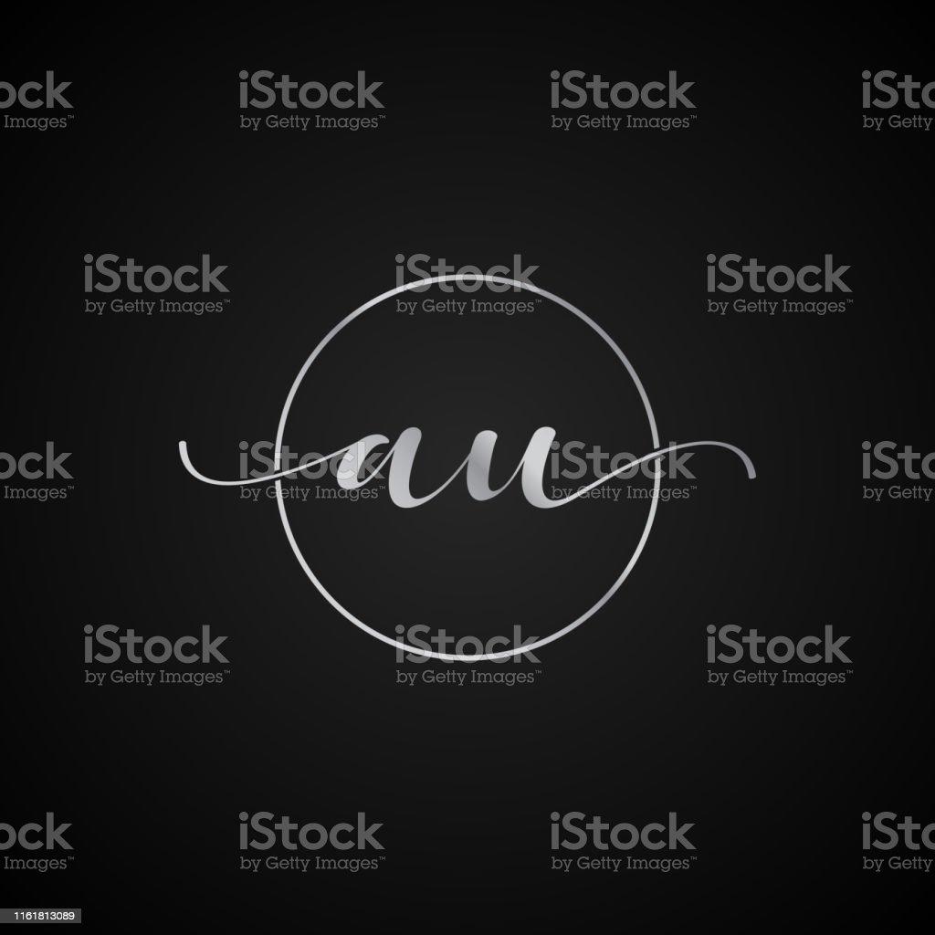 AU initial letter elegant symbol template vector label packaging...