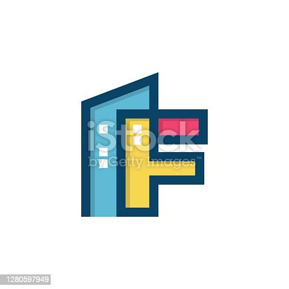 istock Initial Letter F With Colorful Building Vector Illustration Design Template. 1280597949