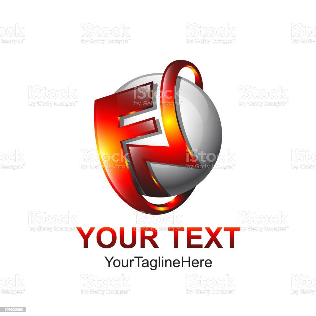 Ilustración de Letra Inicial Plantilla De Logotipo Fn Color Diseño ...
