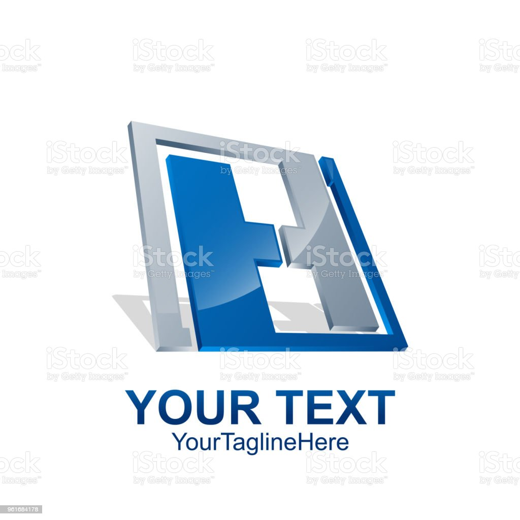 modèle de logo initiale lettre h couleur bleu gris technologie