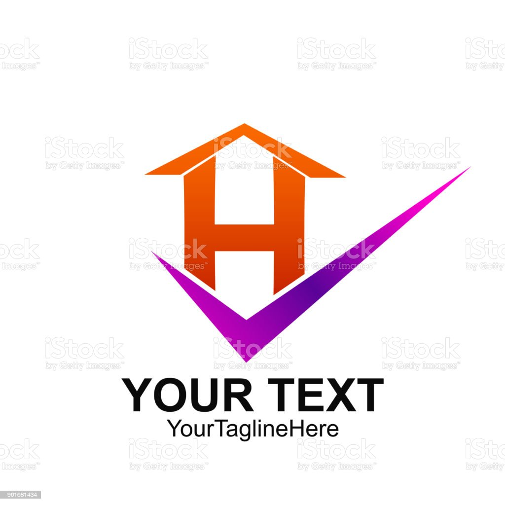 Initial Letter H Logo Template Colorful Check Home Design For ...
