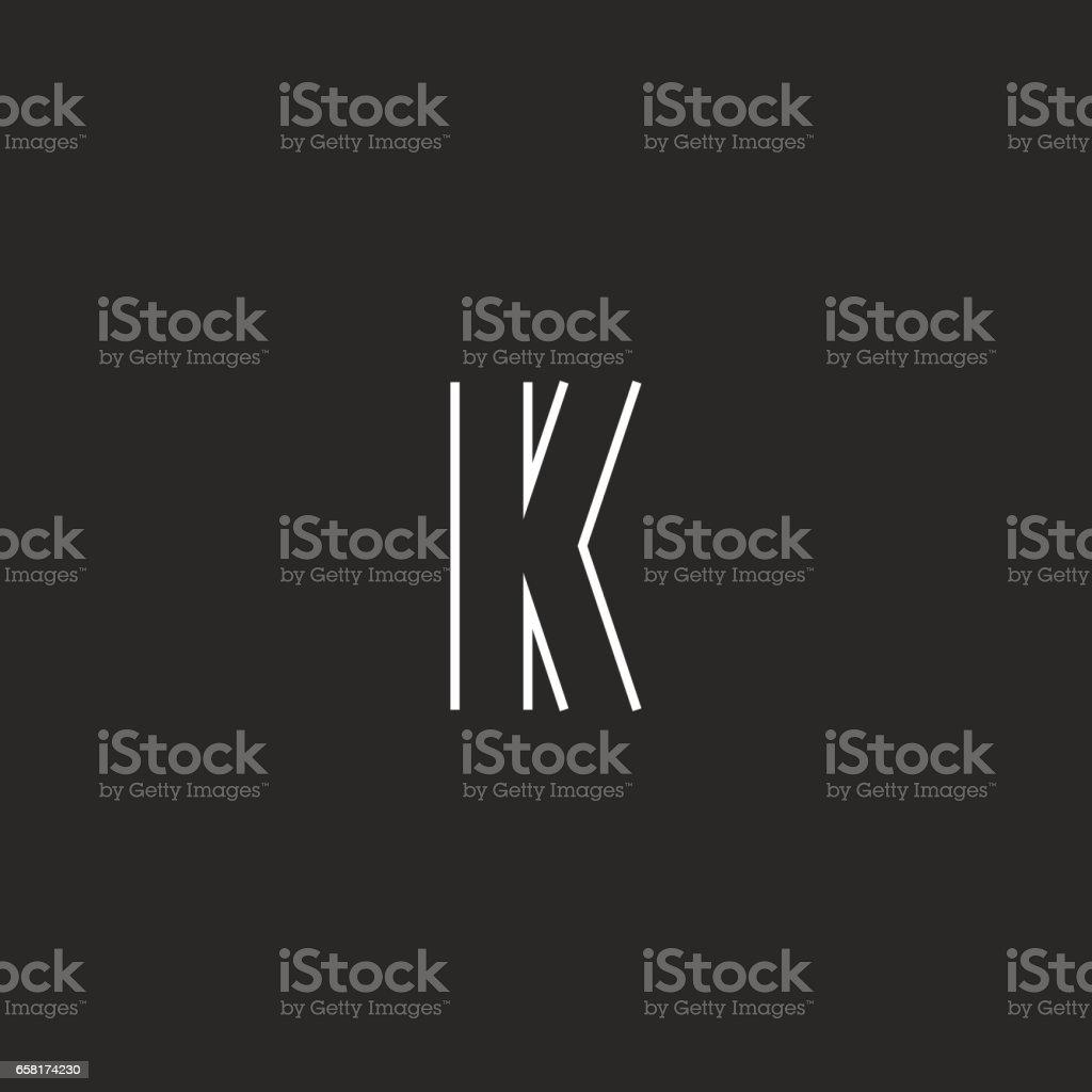 Initial letter K logo creative emblem, mockup monogram symbol deco design element vector art illustration