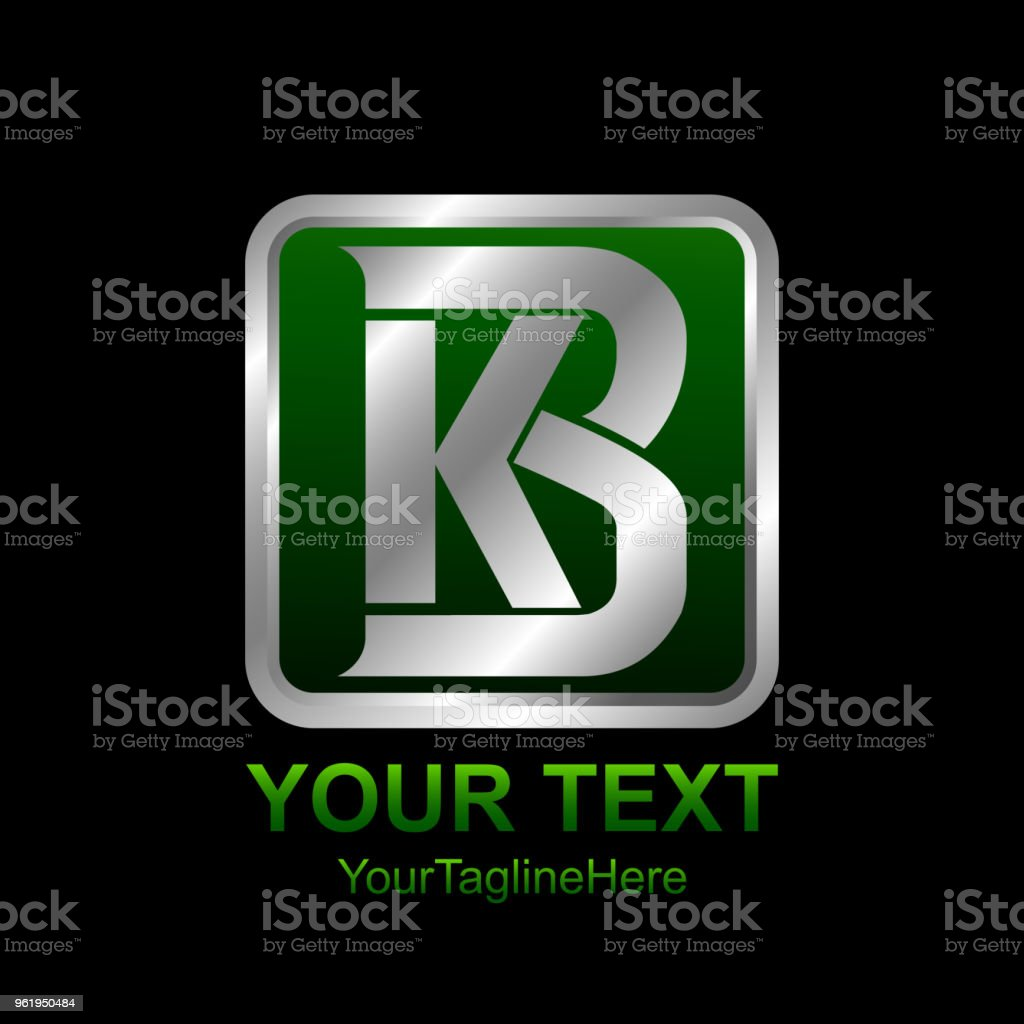 Initial Letter Kb Or Bk Logo Template Colored Silver Green