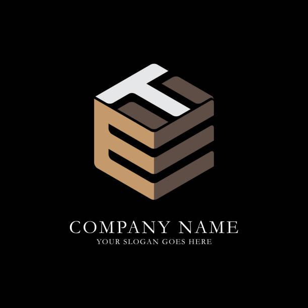 ET initial letter Logo Inspiration, E and T hexagonal Vector ET initial letter Logo Inspiration, E and T combination logo vector with hexagonal idea letter t stock illustrations