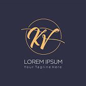 istock Initial letter logo KV, VK, logo template 1205331520