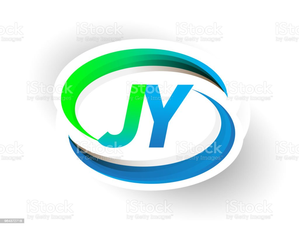 eerste brief de naam van het bedrijf van de logo blauw en groen swoosh design. - Royalty-free Abstract vectorkunst