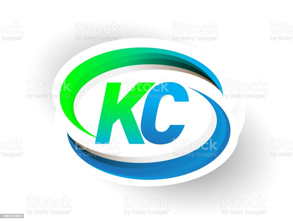 initial letter logotype company name colored blue and green swoosh design. vector art illustration