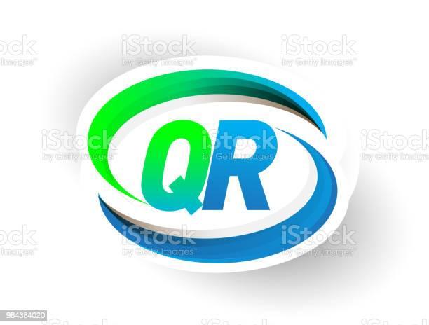 Vetores de Nome Da Empresa Logotipo Inicial Letra De Cor Azul E Verde Swoosh Projeto e mais imagens de Abstrato