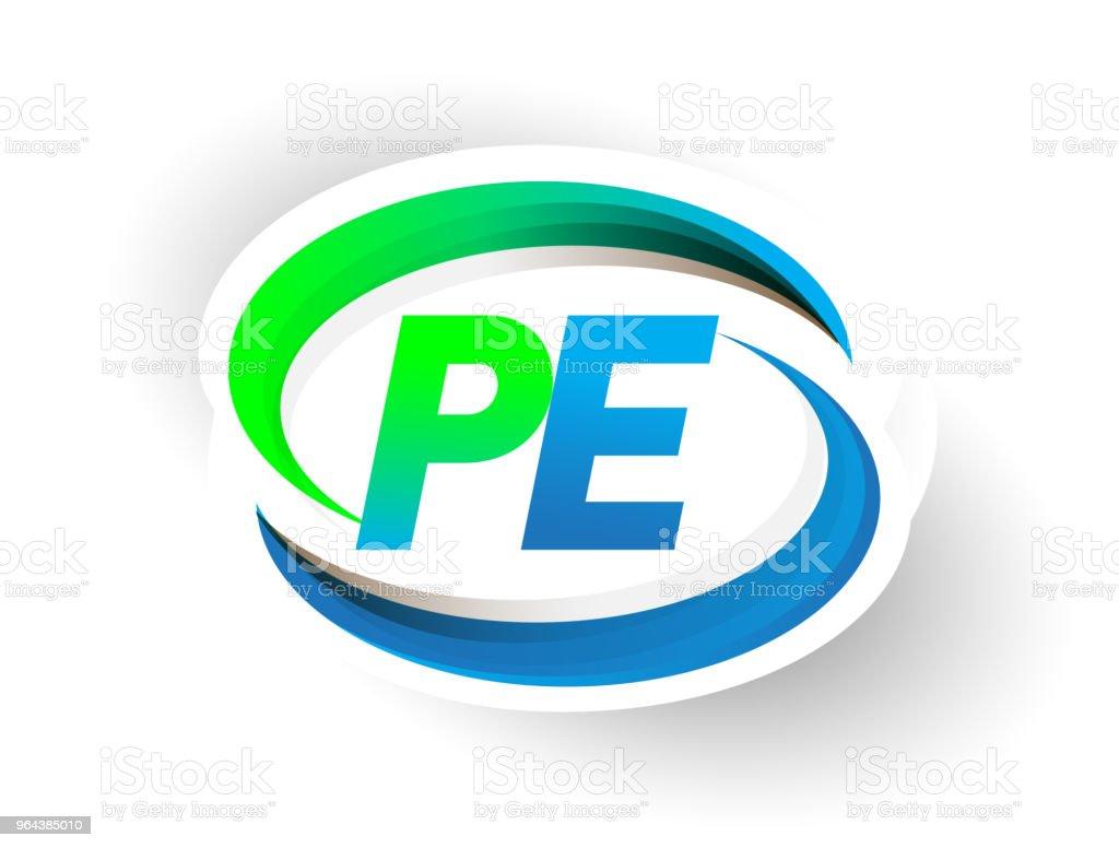 nome da empresa logotipo inicial letra de cor azul e verde swoosh projeto. - Vetor de Abstrato royalty-free