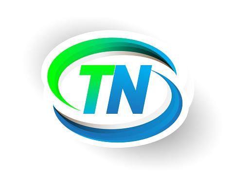 Eerste Brief De Naam Van Het Bedrijf Van De Logo Blauw En Groen Swoosh Design Stockvectorkunst en meer beelden van Abstract
