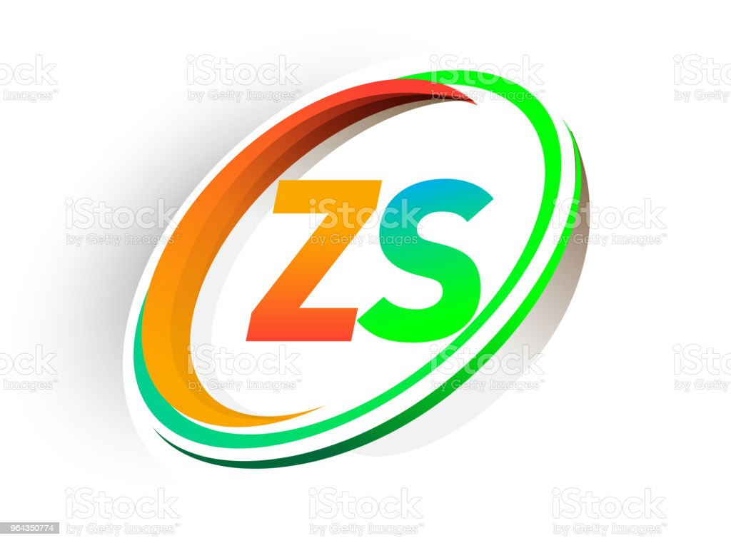 nome da empresa logotipo inicial carta colorido círculo laranja e verde e swoosh projeto - Vetor de Abstrato royalty-free