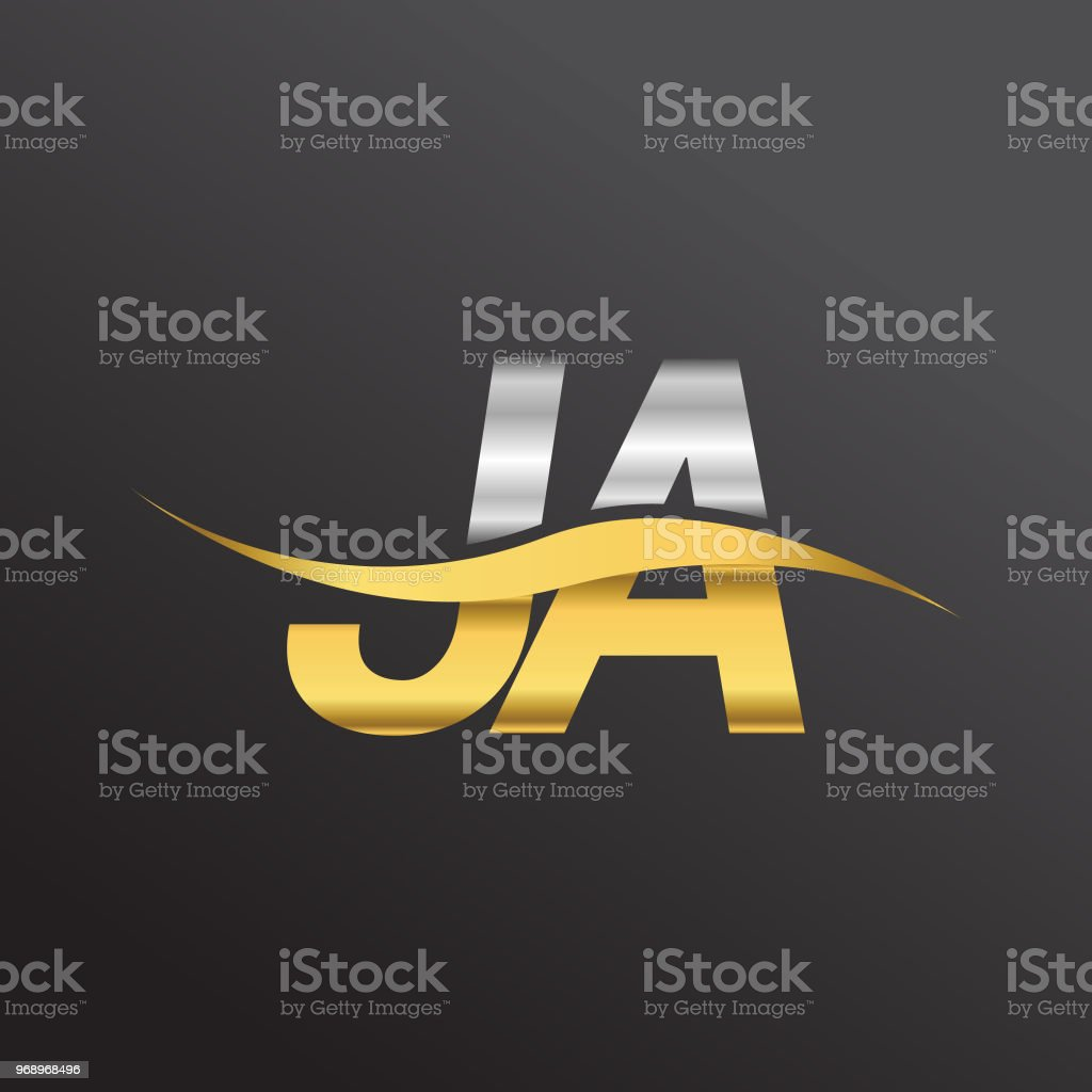 Initial Letter Logotype Company Name Gold And Silver Color