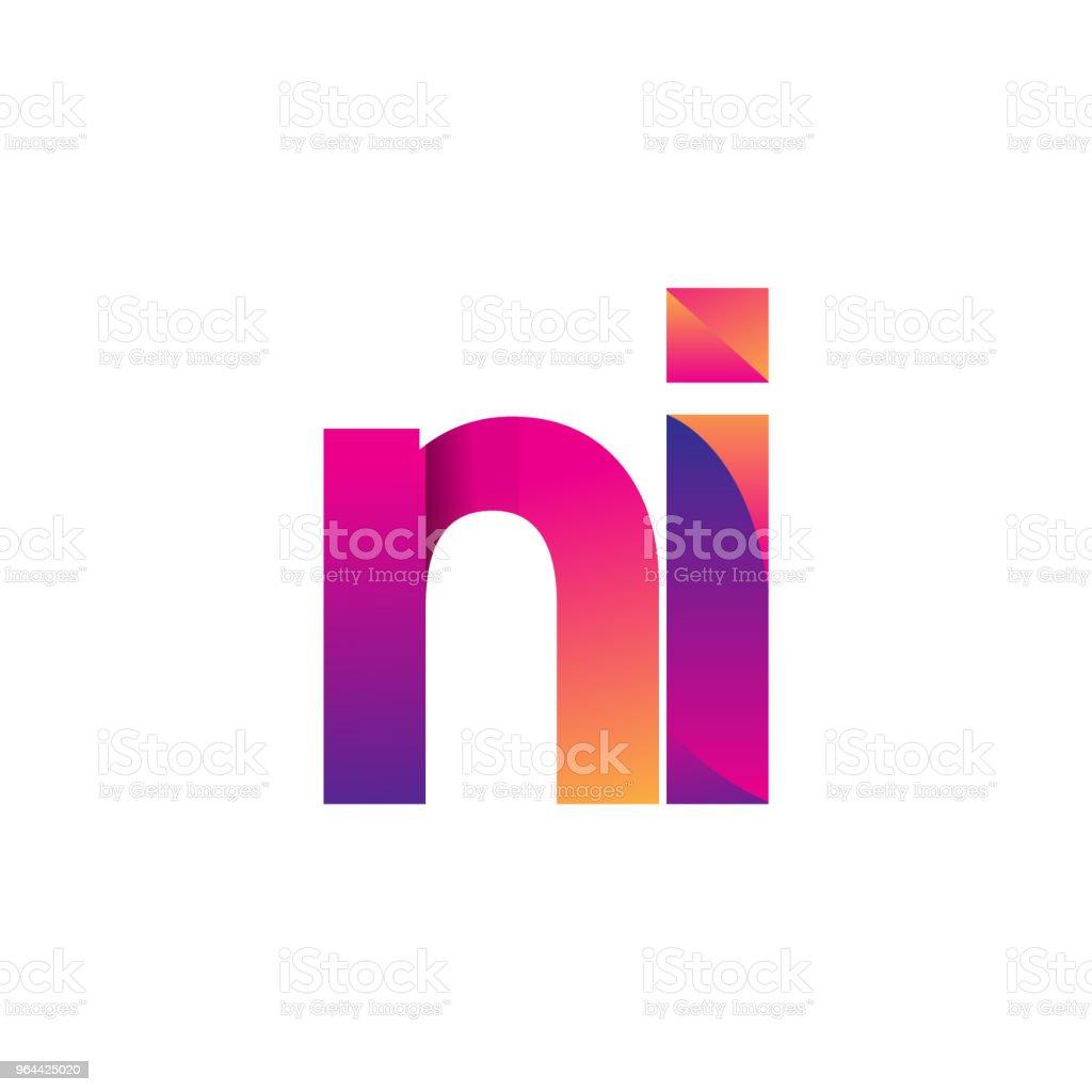 Inicial letra logotipo em letras minúsculas, magenta e laranja. - Vetor de Abstrato royalty-free
