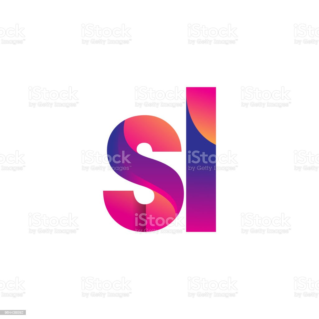 Initial Letter Logotype Lowercase, magenta and orange - Royalty-free Abstract stock vector