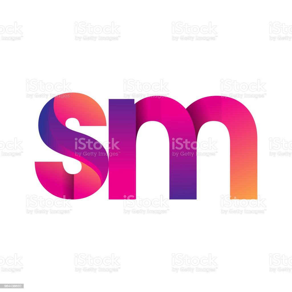 Inicial letra logotipo em letras minúsculas, magenta e laranja - Vetor de Abstrato royalty-free
