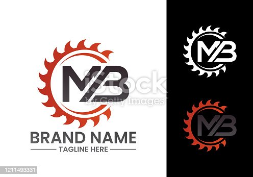 istock Initial Letter M B Logo with Saw, woodworking logo concept design. 1211493331