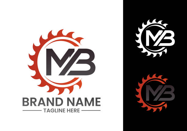Initial Letter M B Logo with Saw, woodworking logo concept design. Initial Letter M B Logo with Saw, woodworking logo concept design. carpenter stock illustrations