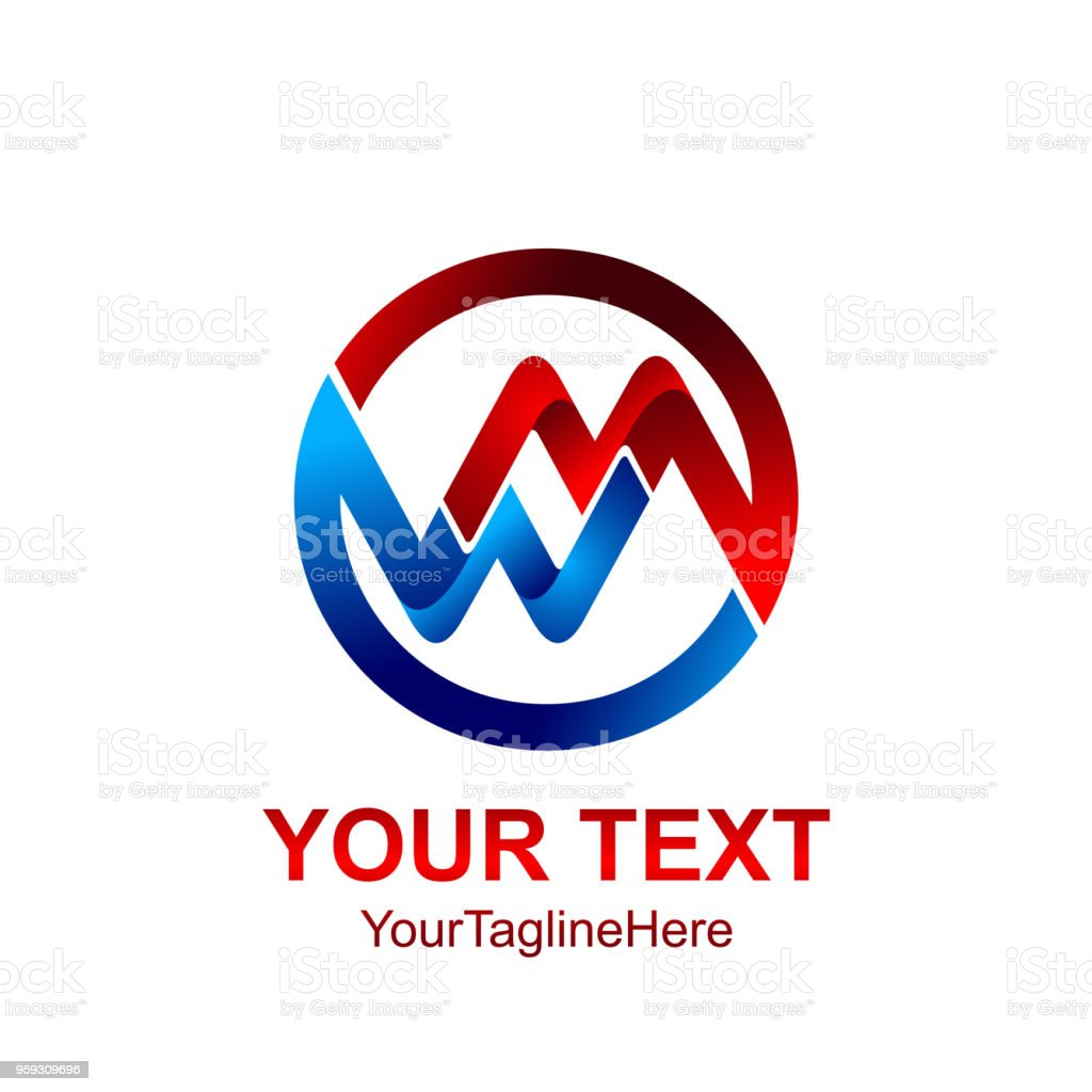 Initial Letter Mw Or Wm Logo Template Colored Red Blue ...
