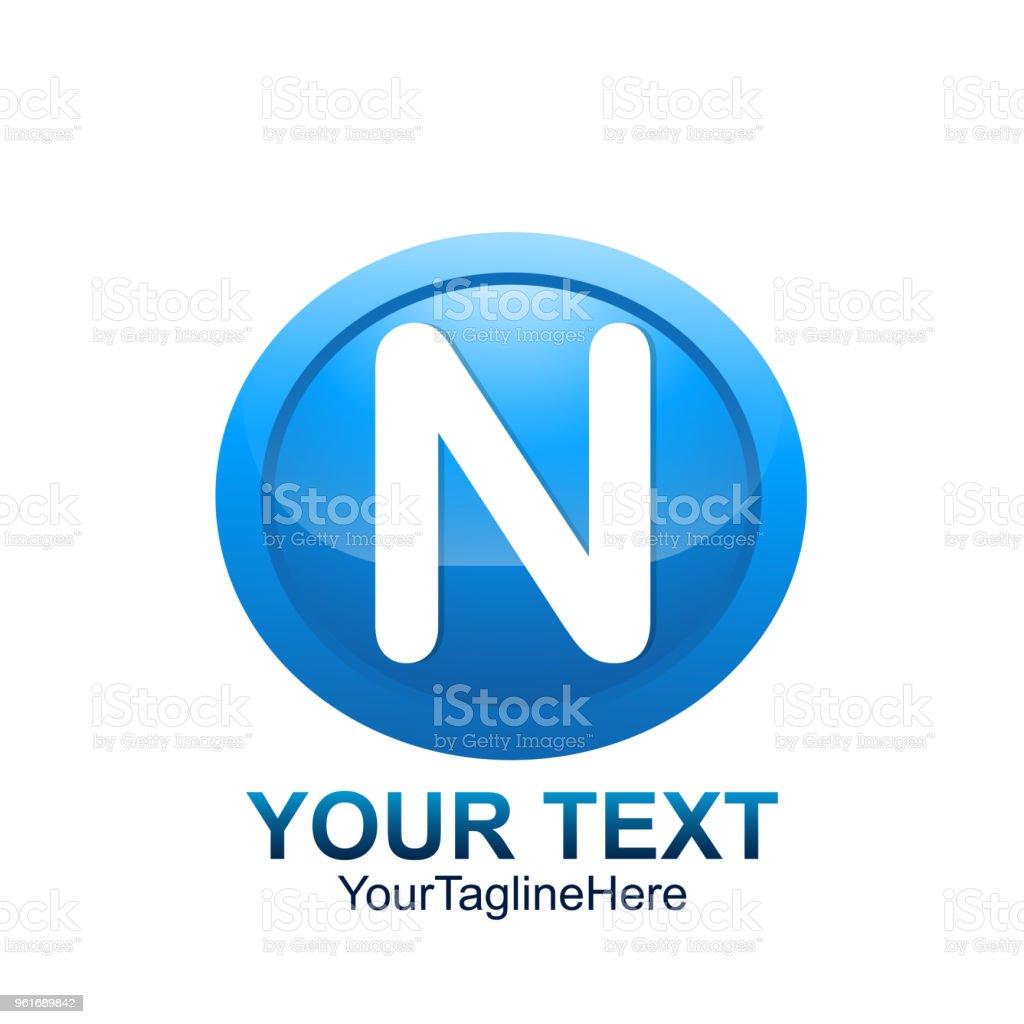 7fada78a9 Modelo de logotipo inicial letra N colorido círculo azul design para  identidade de negócios e empresa