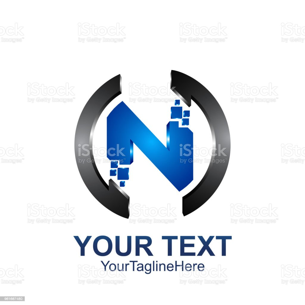 Initial Letter N Logo Template Colored Dark Grey Blue Pixel Circle