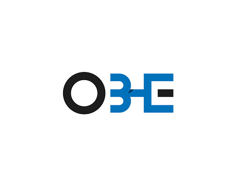initial letter O B H E anagram shaping a human in vertical position logo