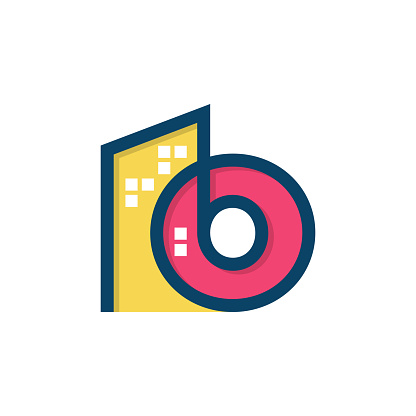 Initial Letter O With Colorful Building Vector Illustration Design Template.