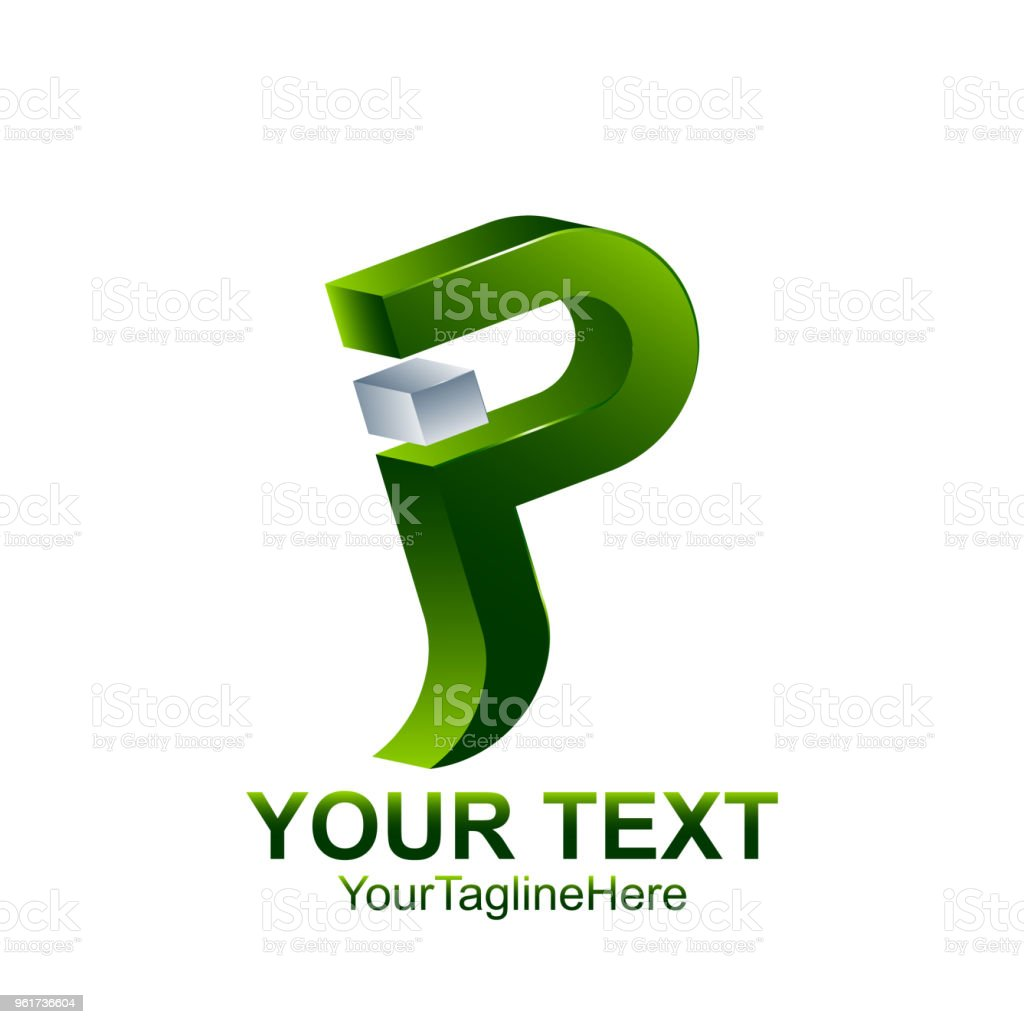initial letter p or jp logo template colored silver green design for business and company identity