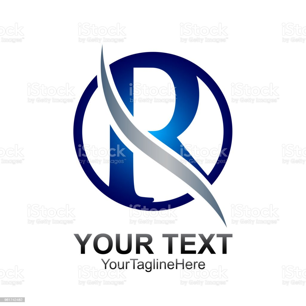 initial letter r logo template colored blue circle swoosh design for business and company identity royalty