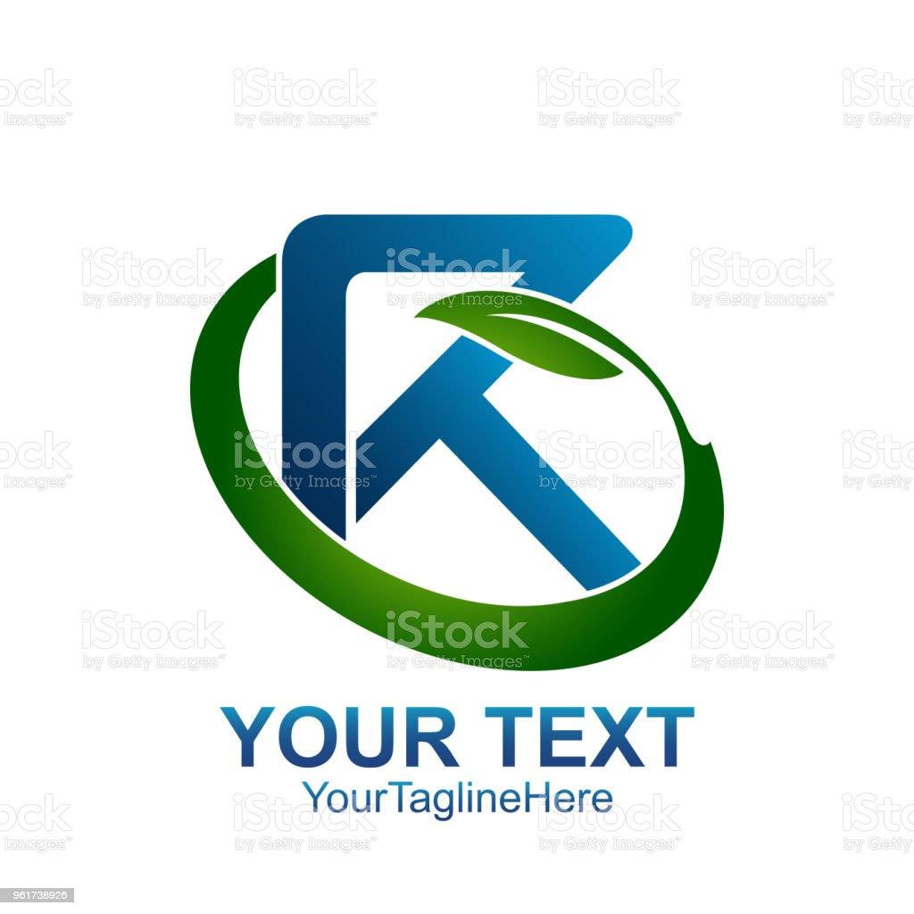Ilustración de Plantilla De Logotipo Letra Inicial R Color Azul Hoja ...